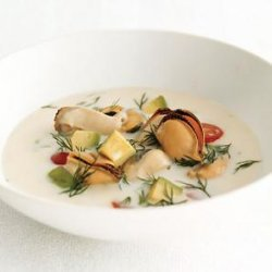 Mussel Soup With Avocado Tomato And Dill
