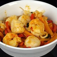 Seafood Wheat Linguini With A Thai Red Curry Sauce