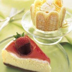 Mascarpone Cheesecake with Rhubarb Glaze and Chocolate-Covered Strawberries