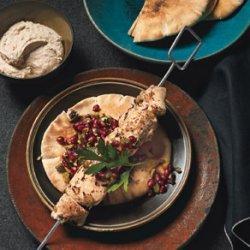 Turkish-Spiced Chicken Kebabs with Pomegranate Relish and Tahini Yogurt recipe