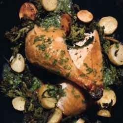 Roast Chicken with Broccoli Rabe, Fingerling Potatoes, and Garlic-Parsley Jus