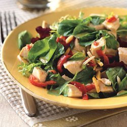 Chicken Salad with Piquillo Peppers, Almonds, and Spicy Greens