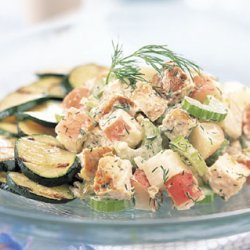 Grilled Lemon Chicken Salad with Dill Cream Dressing recipe
