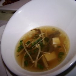 Miso Soup With Tofu And Enoki Mushrooms recipe