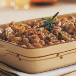 Navy Bean-and-Artichoke Casserole with Goat Cheese