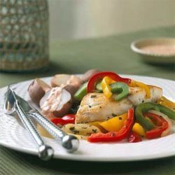 Oven-roasted Striped Bass with Peppers