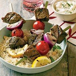 Lamb Souvlaki with Feta-Mint Dipping Sauce