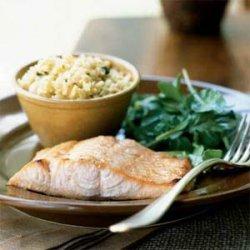 Honey-Ginger Glazed Salmon with Arugula Salad recipe