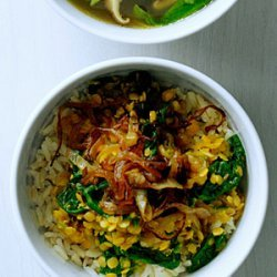 Spiced Red Lentils with Caramelized Onions and Spinach