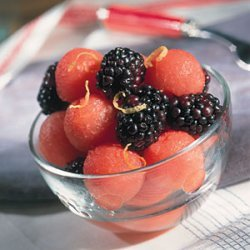 Watermelon And Blackberries With Lemon Syrup