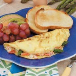 Asparagus Crab Omelets (plum tomatoes and crabmeat)
