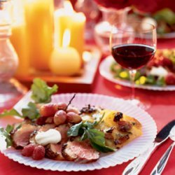 Duck Breast with Crème Fraîche and Roasted Grapes recipe