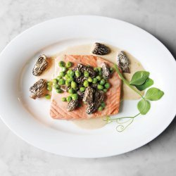 Poached Wild Salmon with Peas and Morels recipe