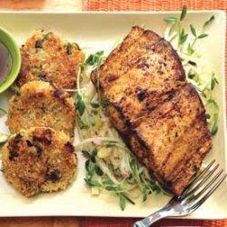 Mahi-Mahi with Lemongrass Slaw and Rice Fritters recipe