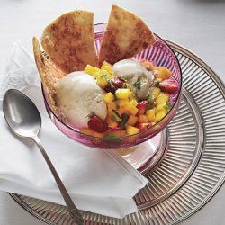 Coconut-Piloncillo Ice Cream with Coconut Tortilla Chips and Fruit Salsa