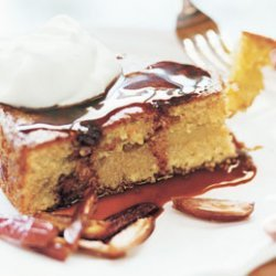 Olive Oil Couscous Cake with Crème Fraîche and Date Syrup