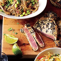 Sesame Tuna with Edamame and Soba recipe