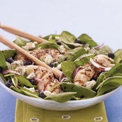 Chicken, Spinach, and Blueberry Salad with Pomegranate Vinaigrette recipe