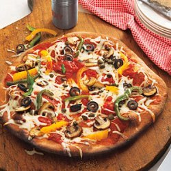 Mushroom, Pepper, Olive and Capers Pizza