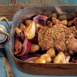 Fennel-Crusted Pork Loin with Roasted Potatoes and Pears