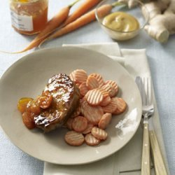 Apricot-Glazed Pork Chops With Honey-Mustard Carrots