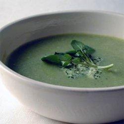 Zucchini-Buttermilk Soup with Watercress Pesto