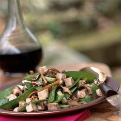 Stir-Fried Tofu, Shiitake Mushrooms, and Chinese Peas recipe