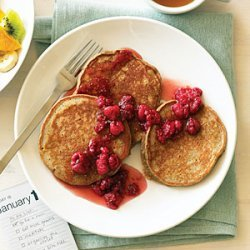 Five-Grain Buttermilk Pancakes with Raspberry Honey recipe