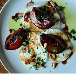 Buffalo Mozzarella with Balsamic Glazed Plums, Pine Nuts and Mint recipe