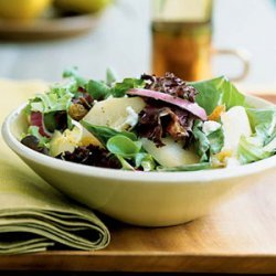 Poached Pear and Greens Salad
