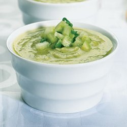 Zucchini and Avocado Soup with Cucumber Salsa