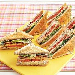 Turkey Club Sandwiches with Herb Mayonnaise
