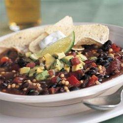 Quick Vegetarian Chili with Avocado Salsa