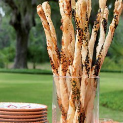 Cheddar-and-Black Sesame Cheese Straws