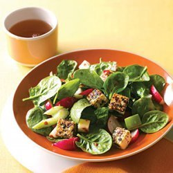 Spinach Dinner Salad with Sesame Tofu recipe