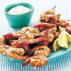 Broiled Shrimp Kebabs with Horseradish-Herb Sour Cream Sauce recipe