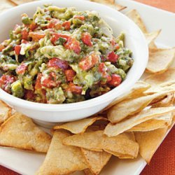 Roasted Garlic, Poblano, and Red Pepper Guacamole with Homemade Tortilla Chips