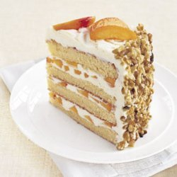 White Chocolate Layer Cake with Apricot Filling and White Chocolate Buttercream