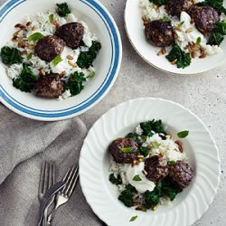 Lamb Meatballs with Kale, Cumin Yogurt, and Carolina Gold Rice recipe