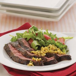 Skirt Steak with Green Olive Tapenade