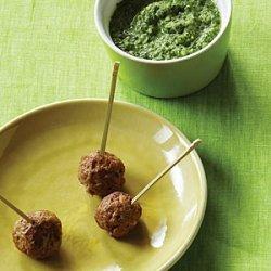Mini Lamb Meatballs with Cilantro-Mint Chutney