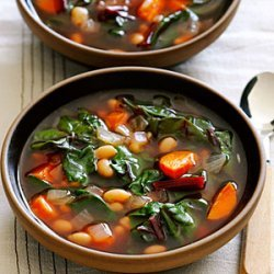 Ruby Swiss Chard and White Bean Soup