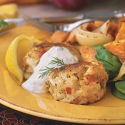 Maryland Crab Cakes With Creamy Caper-Dill Sauce recipe