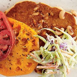 Black-eyed Pea Cakes with Heirloom Tomatoes and Slaw recipe