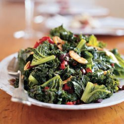 Kale with Roasted Peppers and Olives