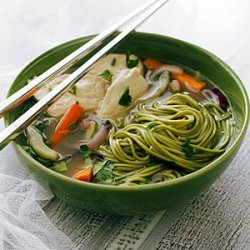 Jasmine Chicken Soup with Green Tea Soba