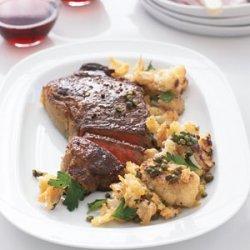 Steak with Cauliflower and Crispy Bread Crumbs