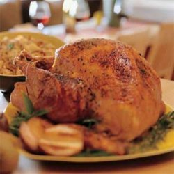 Spice-Rubbed Smoked Turkey with Roasted-Pear Stuffing and Cranberry Syrup recipe