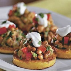Polenta Rounds With Black-eyed Pea Topping recipe