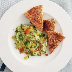 Edamame  Guacamole  with Chile-Dusted Pita Chips